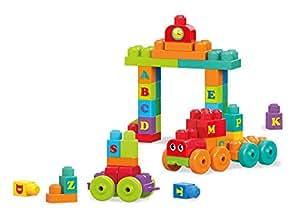Mega Bloks Tren de Aprendizaje ABC, jueguete de construcción para bebé +1 año (Mattel DXH35)