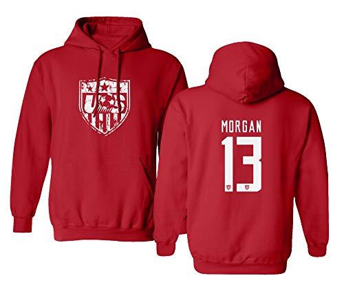 TURXIN New Soccer Shirt America USA National Team #13 Alex Morgan Boys Girls Youth Hooded Sweatshirt (Red, Youth ()