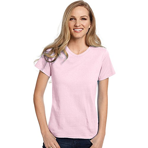 Hanes by Relaxed Fit Women's ComfortSoft V-Neck T-Shirt_Pale Pink_XL (V-neck Womens Hanes Short)