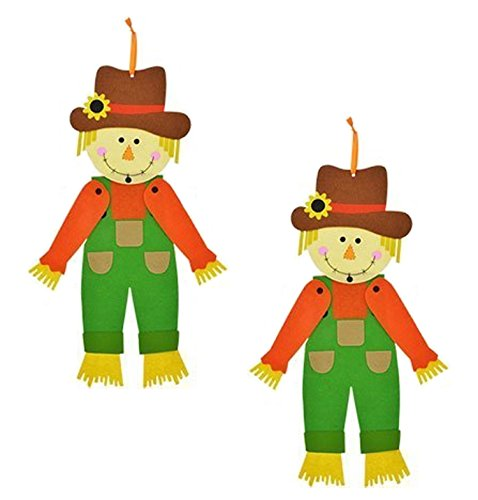 - 2-Pack Autumn Harvest Decor ~ Jointed Felt Scarecrow Hanging Decoration