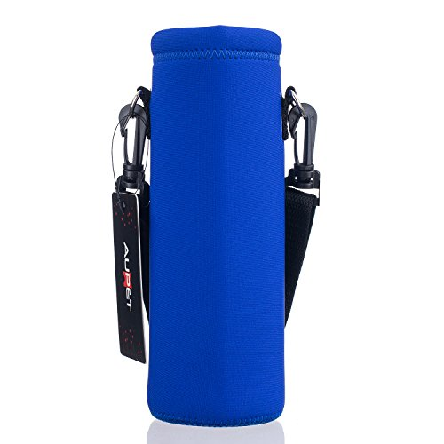 Holder Insulated (AUPET Water Bottle Carrier,Insulated Neoprene Water bottle Holder Bag Case Pouch Cover 1000ML or 750ML,Adjustable Shoulder Strap, Great for Stainless Steel and Plastic Bottles)