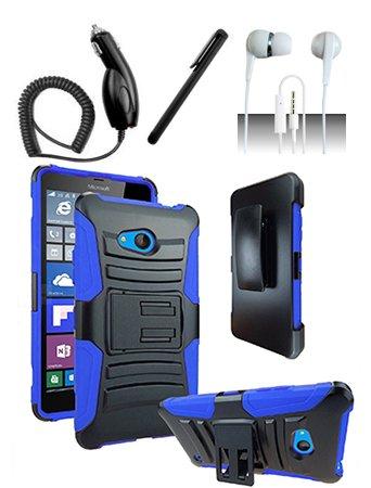 Nokia Lumia 550 [Shoparound168] Blue / Black Hybrid Armor Dual Layer Case w/ Built in Kickstand and Holster + Car Charger + Free Stylus Pen + Free 3.5mm Earphone (Nokia Lumia 550)
