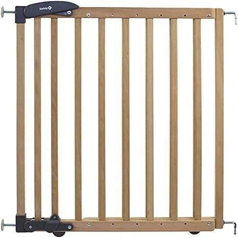 Safety 1st - Barrera de seguridad para escaleras (extendida de instalación doble, rejilla de madera para fijación sin taladrar, longitud: 69-104 cm), color marrón: Amazon.es: Bebé