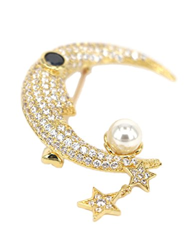 18k Gold-plated Brooch Pins for Women Girls Classic Crescent and Stars Pattern Brooches with Pearl Cubic-zirconia Wedding Breastpins Bridal Jewelry Accessory