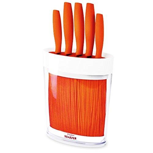 Universal Messer-Set im Messer-Block mit Fasereinsatz 6-teilig in Orange Messer-Block Messer-Ständer Block - Milumi Edition
