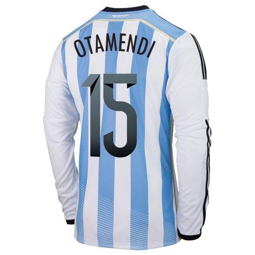 日付海軍前Adidas OTAMENDI #15 Argentina Home Jersey World Cup 2014 Long Sleeve/サッカーユニフォーム アルゼンチン代表 ホーム用 長袖 ワールドカップ2014 背番号15 オメンディ