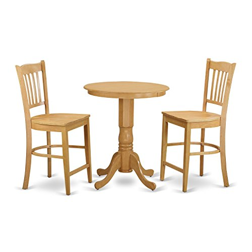 East West Furniture EDGR3-OAK-W 3 Piece High Top Table and 2 Dinette Chairs Set
