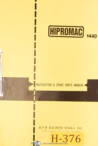 Hipromac 1440, Dashin Studturn 750 and 1000, Lathe, Operations and Maintenance Manual