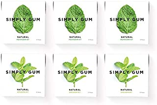product image for Simply Gum | Natural Chewing Gum | Variety Pack - Peppermint, Spearmint | Pack of Six (90 Pieces Total) | Plastic Free + Aspartame Free + non GMO