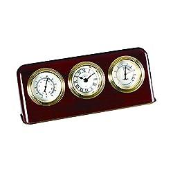 Desk Clock w Thermometer & Hygrometer in Mahogany Finish-Wood