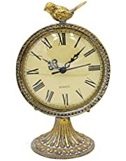 Funly mee Vintage Pewter Table Clock with Cute Bird