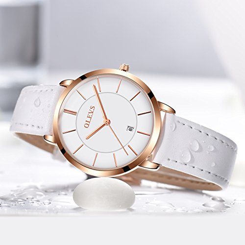 OLEVS His and Hers Couples Quartz Watch,Business Casual Fashion Analog Wrist Watch Classic Calendar Date Window, Waterproof 30M Water Resistant Comfortable Leather Watches by Fate Love (Image #3)