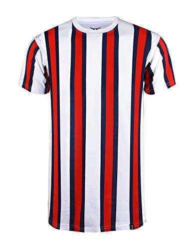 (SCREENSHOTBRAND-S11904 Mens Hipster Hip-Hop Premium Tee - Luxury Longline Vertical Stripe Print T-Shirt-White/Stripe-Large)