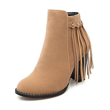 RTRY Women's Shoes Leatherette Winter Fashion Boots Bootie Boots Chunky Heel Round Toe Booties/Ankle Boots Tassel(s) Zipper For Casual Dress US8 / EU39 / UK6 / CN39 cb46HldUA