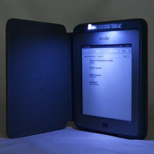 Cuero Funda de Piel CON LUZ Portátil Interior Para Amazon Kindle ...