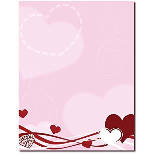 Stationery Valentine (Hearts & Swirls Letterhead Laser & Inkjet Printer Paper, 100 pack)