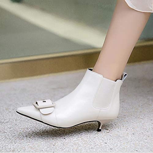 Boots Leather Boots Ankle D warm XUE Heel Pointed shoes Keep Fine Bootie Fall Ankle Winter Boots Fashion Women's Shoesleather Boots Boots Y5qwvf