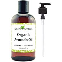 100% Pure Organic Cold-Pressed Avocado Oil - 8oz - FREE Pump included - Imported From Italy - NON-GMO/ Golden In Color