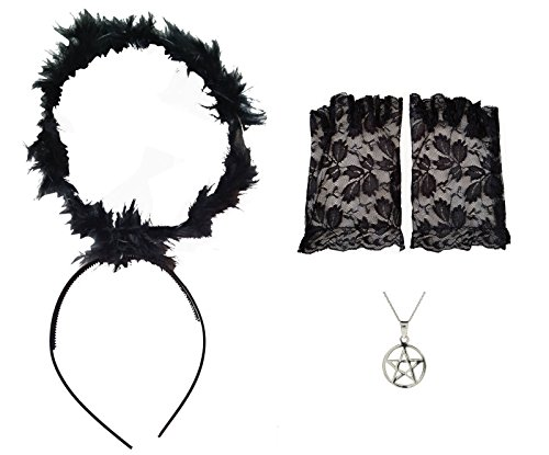 - Black Halo + Lace Fingerless Gloves + Pentagram Necklace Gothic Witch