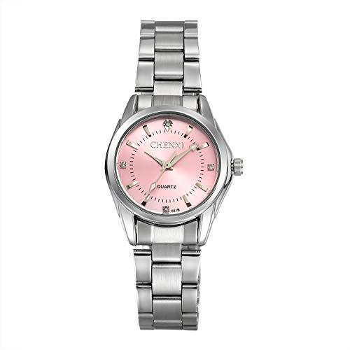 - Women's Crystal Rhinestone Brcaelet Bangle Watch Fashion Samll Face Pink Dial Japan Quartz Wrist Watches with Stainless Steel Band