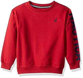 Nautica Toddler Boys' French Terry Pullover, Nevin Red Rouge, 4T
