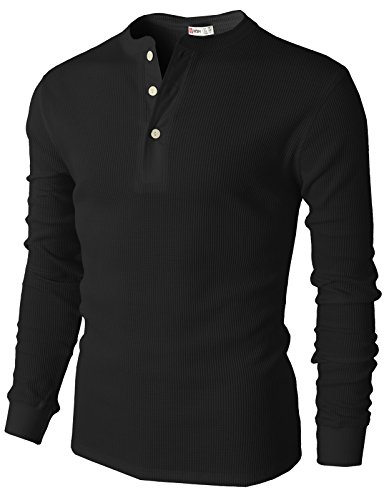 H2H Mens Pointed Neck Henley Shirts of Waffle Cotton Black US 3XL/Asia 4XL (CMTTL045) - Mens Textured Knit Henley