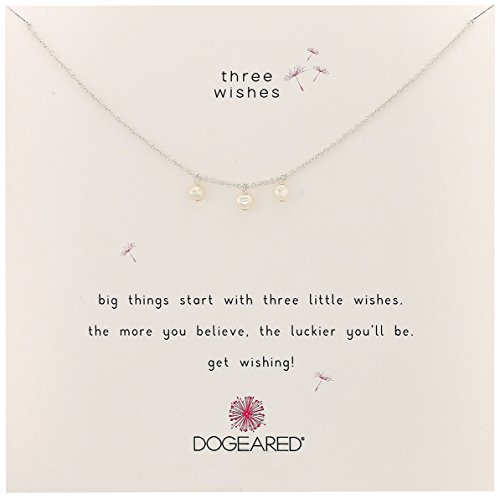 Dogeared 3 Wishes Triple Pearl Sterling Silver Chain Neck...