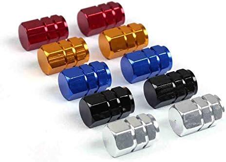 EKIND Tire Stem Valve Caps Wheel Aluminum Valve Covers Car Dustproof Tire Cap Hexagon Shape, Set of 5, Red