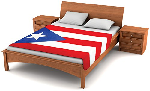 Fuzzy FlagsTM Fleece Puerto Rico Flag Blanket - 6.5 ft. x 4 ft. - Oversized Puerto Rican Flag Travel Throw Cover