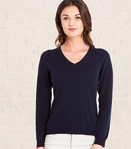 Woolovers Ladies Cashmere and Merino V Neck Knitted Sweater Navy L