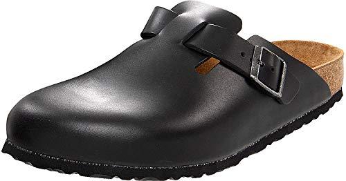 Leather Cork Clogs (Birkenstock Unisex Boston Soft Footbed Black Amalfi Leather Clog 43 R (US Women's 12-12.5))