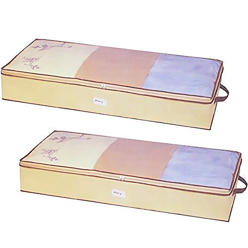 (Ziz Home Zippered Under Bed Storage Bag 2 Pack | Soft Breathable Anti-Mold Fabric | Used for Underbed Clothes Storage Linen Storage Blanket Storage Sweater Storage Duvet Storage Bins Clear Window)