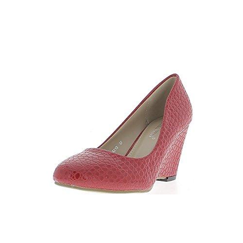 Escarpins compensés femme rouges look croco à talons de 7,5cm