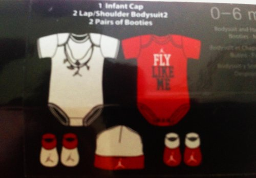 Jordan 5 Piece set Baby 0-6 Months Bodysuits, Booties and Cap Onsie (Red)
