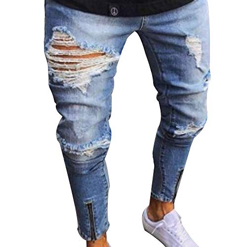 HIENAJ Mens Stretch Slim Fit Long Jeans Casual Ripped Holes Straight Leg Denim Pants