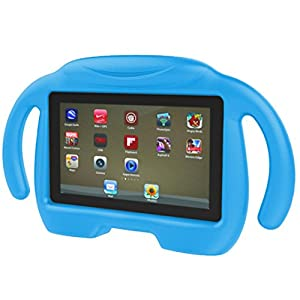 Dreamyth Kids Shockproof EVA Handle Stand Case Cover For Amazon Kindle Fire HD 7 2015 (blue)
