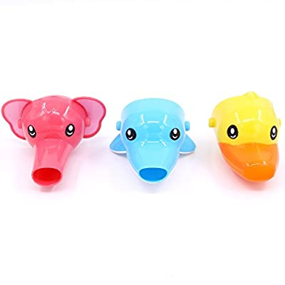 Rustark 3Pcs Cartoon Faucet Extender Sink Handle Extender for Toddler, Baby, Children Safe and Fun Hand-washing Solution (Set of 3, Yellow Duck, Pink Elephant, Blue Dolphin)