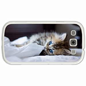 Customized Samsung Galaxy S3 SIII 9300 Hard Shell Cover Case Diy Personalized Designkitten eyed breed Sacred Birman breed White
