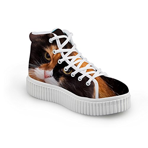 HUGS IDEA Cute Jeans Women Sneakers High Top Shoes Cat 5 ZRkhv