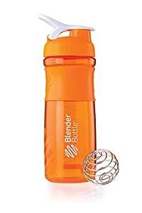 BlenderBottle SportMixer Tritan Grip Shaker Bottle, Orange/White, 28-Ounce