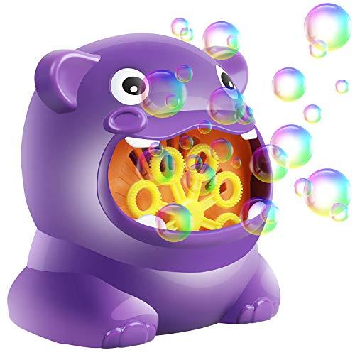 YECI Bubble Machine for Kids Automatic Bubble Gun Continuous Bubble Blower Portable Suitable for Birthday Party Weddings (Hippo Shape)