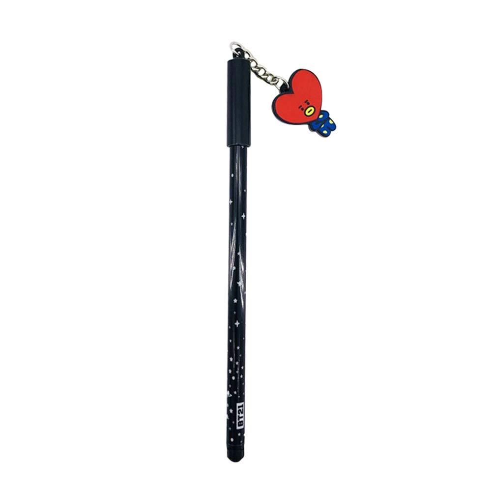 Goth Perhk Kpop BTS Bangtan Boys Stylo /à bille /à encre noire avec pendentif en forme de dessin anim/é joli cadeau pour les fans de BTS Kids BTS Girls 7PCS