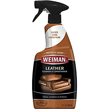 da54ad749363 Weiman Leather Cleaner   Conditioner - 22 Ounce - Cleans Conditions and  Restores Leather Surfaces - UV Protectants Help Prevent Cracking or Fading  of ...
