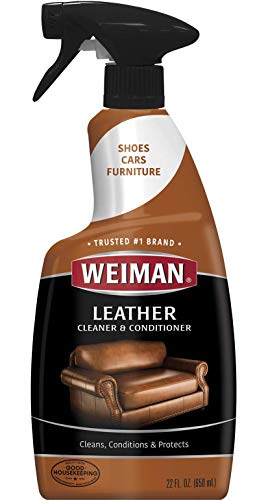 - Weiman Leather Cleaner and Conditioner for Furniture - 22 Ounce - Cleans Conditions and Restores Leather Surfaces - UV Protectants Help Prevent Cracking or Fading of Leather Car Seats, Shoes, Purses