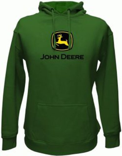 John Deere Men's Trademark Logo Core Hood Pullover Fleece, Green, Large
