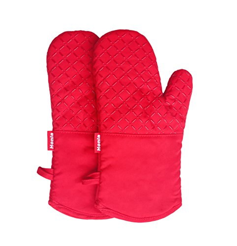 Honla 13-Inch Cotton Quilted Oven Mitts/Hot Mits-Terry Cloth Lining&Plaid Silicone Coating Pan/Pot Holders/Potholders,Red,1 Pair Kitchen Mittens/Gloves Set for Cooking,Baking,Smoking or Grilling (Oven Mitts For Small Hands compare prices)
