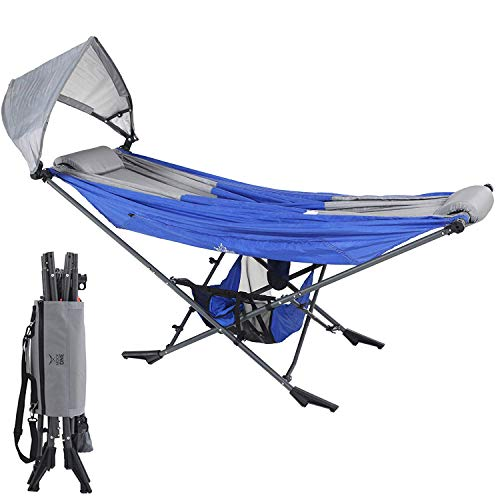 Mock ONE - Compact Portable Folding Hammock with Free Standing Frame includes Carrying Wrap and Sun Shade Perfect for Outdoor, Patio, Camping, Beach, and Festivals (Blue/Gray)