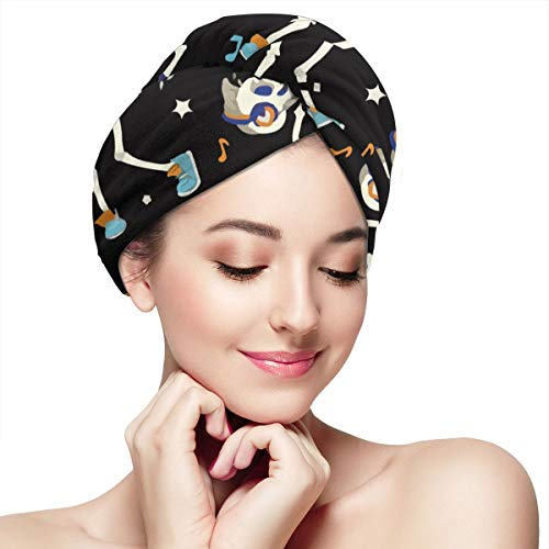 Dancing Skeletons Boy Party Halloween Microfiber Hair Towel Wrap With Button Quick Dry Hair Turban For Women Girls