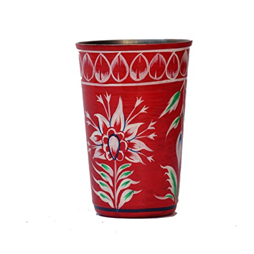 eCraftIndia Handpainted Decorative Steel Glass   101 Red Color