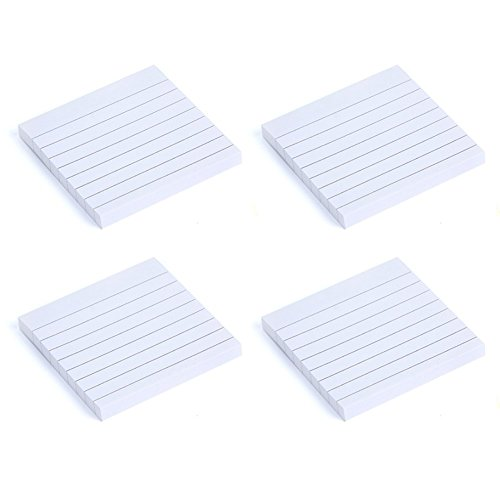Qinlee Self-Stick Notes Assorted Bright Color Lined Self-Stick Notes Self Stick Writable Tabs Pack-4 (White)